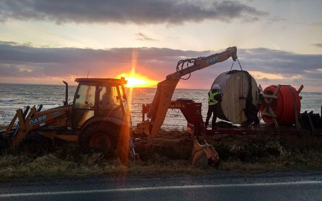 Construction machines at dawn